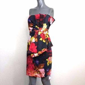 Ted Baker Origami Fold Sheath Dress Floral Black 4